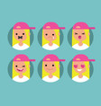 millennial blonde girl profile pics set of flat vector image