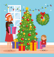 mother and daughter with december clothes in vector image