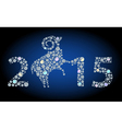 Number 2015 and brilliant sheep vector image