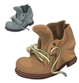Old well-worn winter boots brown and gray vector image vector image