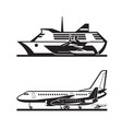 passenger transport by sea and by air vector image vector image