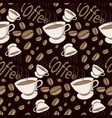 pattern of coffee beans on black background vector image vector image
