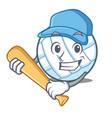 playing baseball volley ball character cartoon vector image vector image