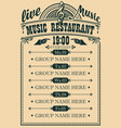 poster for music restaurant with live music vector image vector image