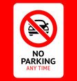 prohibition sign no parking black forbidden vector image vector image