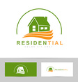Real estate house green orange logo vector image