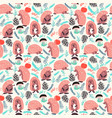 seamless cute background with hedgehog vector image