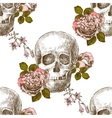 Seamless pattern skull with flowers vector image