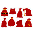 set different santa claus bags vector image vector image