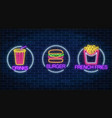 set of three neon glowing signs of french fries vector image