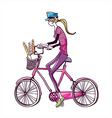 side view of woman riding bicycle vector image vector image
