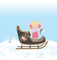 Sled Girl Child Smile Christmas Winter Snowflake vector image