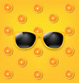 sunglasses with orange and yellow background vector image vector image