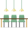 Three Empty Chairs With Long Table Isolated On vector image