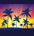 tropical trees silhouettes on sunset vector image