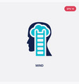 two color mind icon from brain process concept vector image