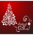 white lace christmas tree on red background vector image