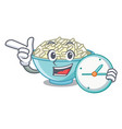 with clock rice bowl character cartoon vector image