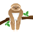 sloth with a pillow sitting on a branch vector image
