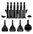 Science lab equipment black silhouettes vector image