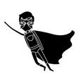 silhouette black full body superhero man flying vector image