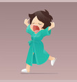 a girl in green robe walking and yawning vector image