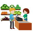 a man at the grocery store vector image