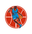 Basketball Player Dribble Ball Front Retro vector image vector image