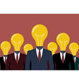 Businessmen with a light bulb head vector image vector image