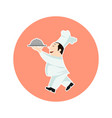 chef with food serving tray cartoon vector image vector image