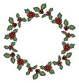 christmas holly berry wreath cartoon vector image
