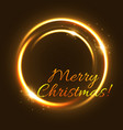 christmas light greeting card of glowing circle vector image vector image