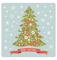 Christmas tree with flowers vector image vector image