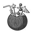 Coconut cocktail icon in monochrome style isolated vector image vector image