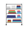 colorful silhouette of rack with pile towels vector image