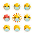 coronavirus protection medical mask emoticon vector image