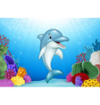 Cute Dolphin with beautiful underwater world vector image vector image
