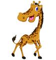 Cute giraffe cartoon posing vector image vector image