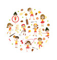 cute kids kids playing various sports in round vector image