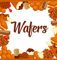 delicious crispy wafers with delicious fillings vector image vector image