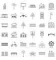 downtown icons set outline style vector image vector image
