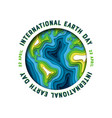 earth day card green paper cutout planet vector image vector image