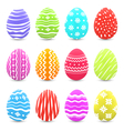 Easter many multicolored ornate eggs with shadows vector image vector image