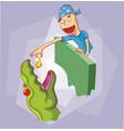 feeding dinosaur vector image vector image