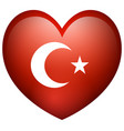 flag of turkey in heart shape vector image vector image