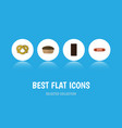 flat icon meal set of kielbasa confection tart vector image vector image