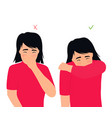 girl sneezes and coughs right and wrong vector image vector image