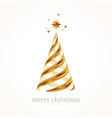 greeting card with golden abstract christmas tree vector image vector image