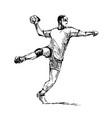 hand sketch handballman vector image vector image