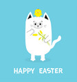 happy easter greeting card cat holding yellow vector image vector image